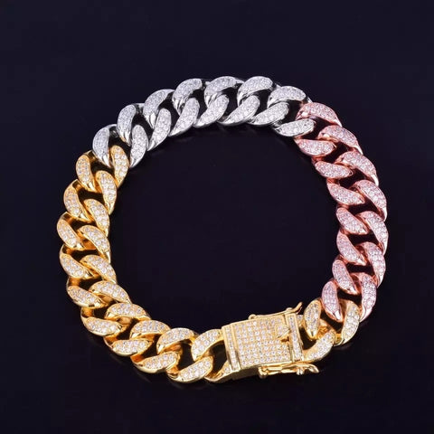 12mm Multi-colored Cuban Link Bracelet