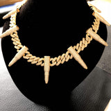 Iced Out 12mm Prong Cuban Link Chain w/ Bullets
