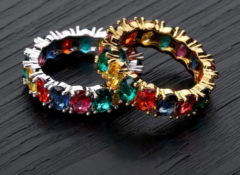 Multi-Colored Baguette Ring