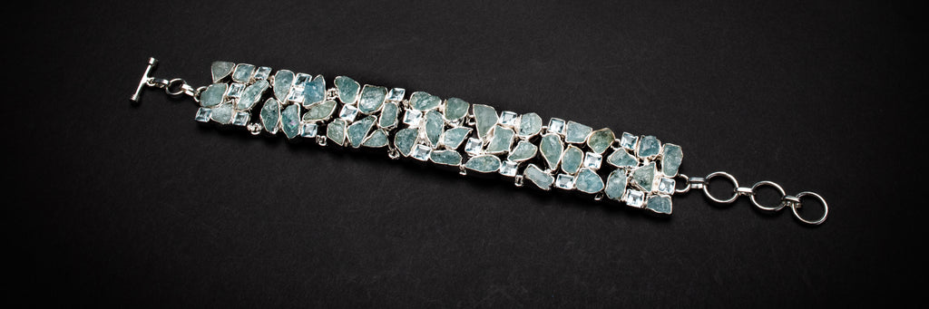Aquamarine Silver Bracelet chunky - March Birthstone - Gift for Her