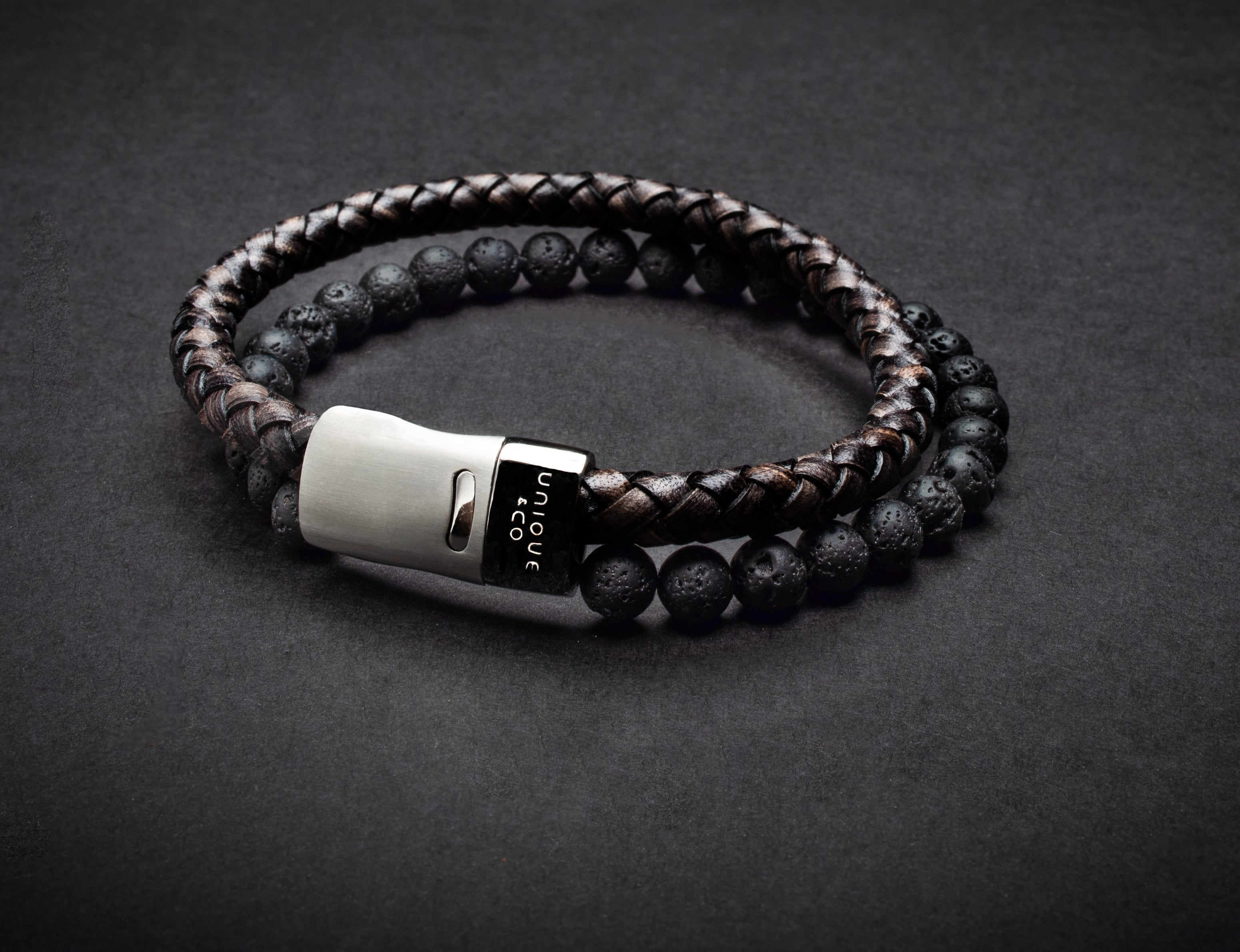 Stylish Men's Leather and Lava Stone Bracelet - Quality Gift for Men