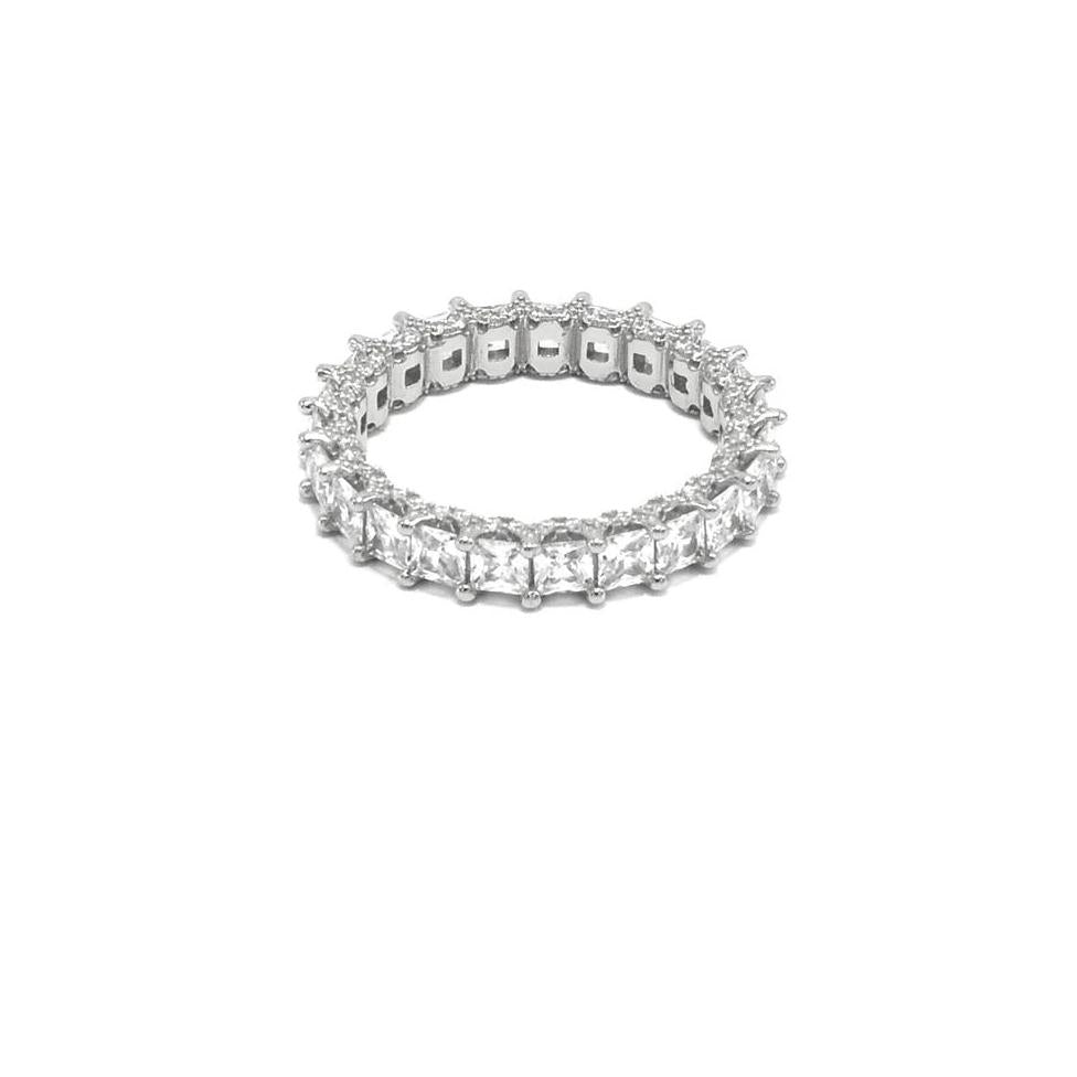 ETERNITY SQUARE RING STERLING SILVER