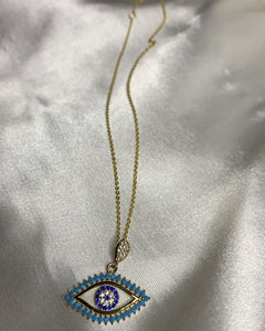 Turquoise 14K Evil Eye Necklace