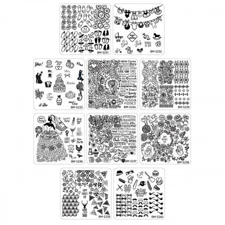 10pc Occasions Collection Nail Art Stamping Plates - Family Ties