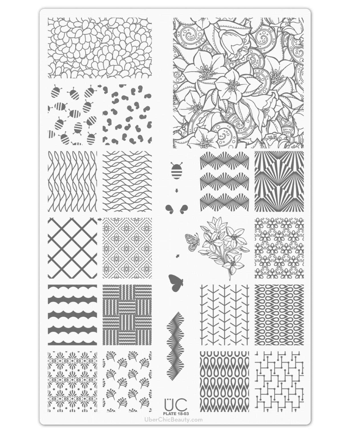 UberChic Nail Stamp Plates - Collection 18