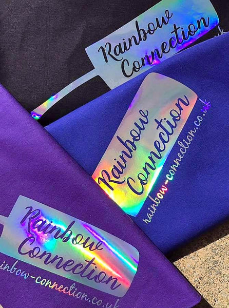 Rainbow Connection holo shopping totes