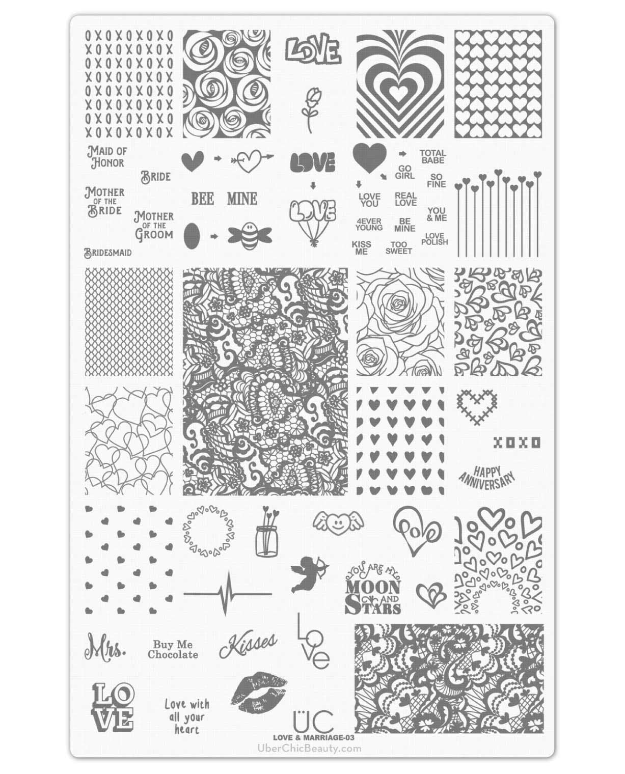 Love and Marriage-03 - UberChic Beauty Nail Stamping Plate