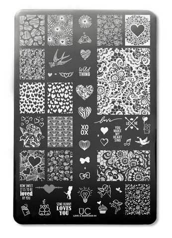 Love & Marriage-04 - UberChic Nail Stamping Plate
