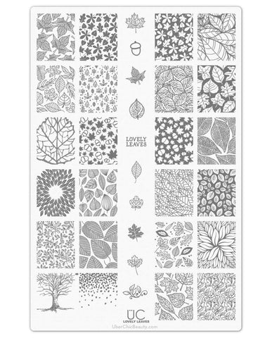 Lovely Leaves-01 - UberChic Nail Stamping Plate