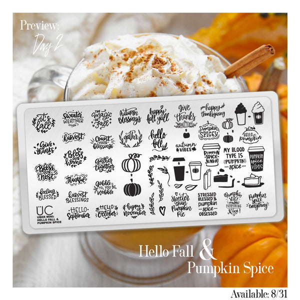 Hello Fall & Pumpkin Spice - Uber Mini Nail Stamp Plate