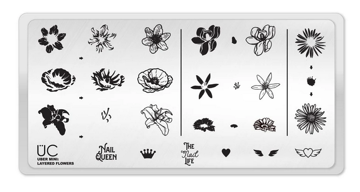 Layered Flowers - Uber Mini Nail Stamp Plate