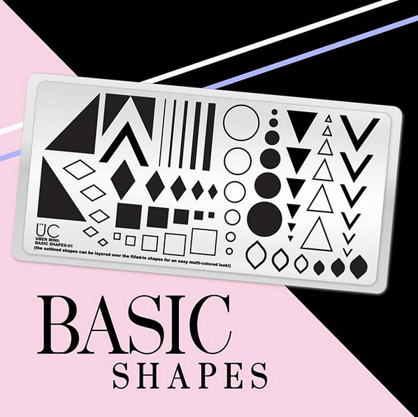Basic Shapes-01 - Uber Mini Nail Stamp Plate