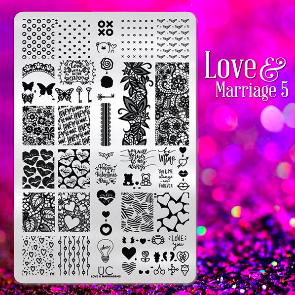 Love and Marriage-05 - UberChic Nail Stamping Plate