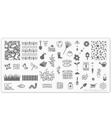 Garden Love - Uber Mini Nail Stamp Plate