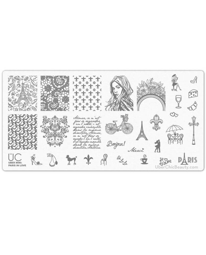 Paris in Love - Uber Mini Nail Stamp Plate