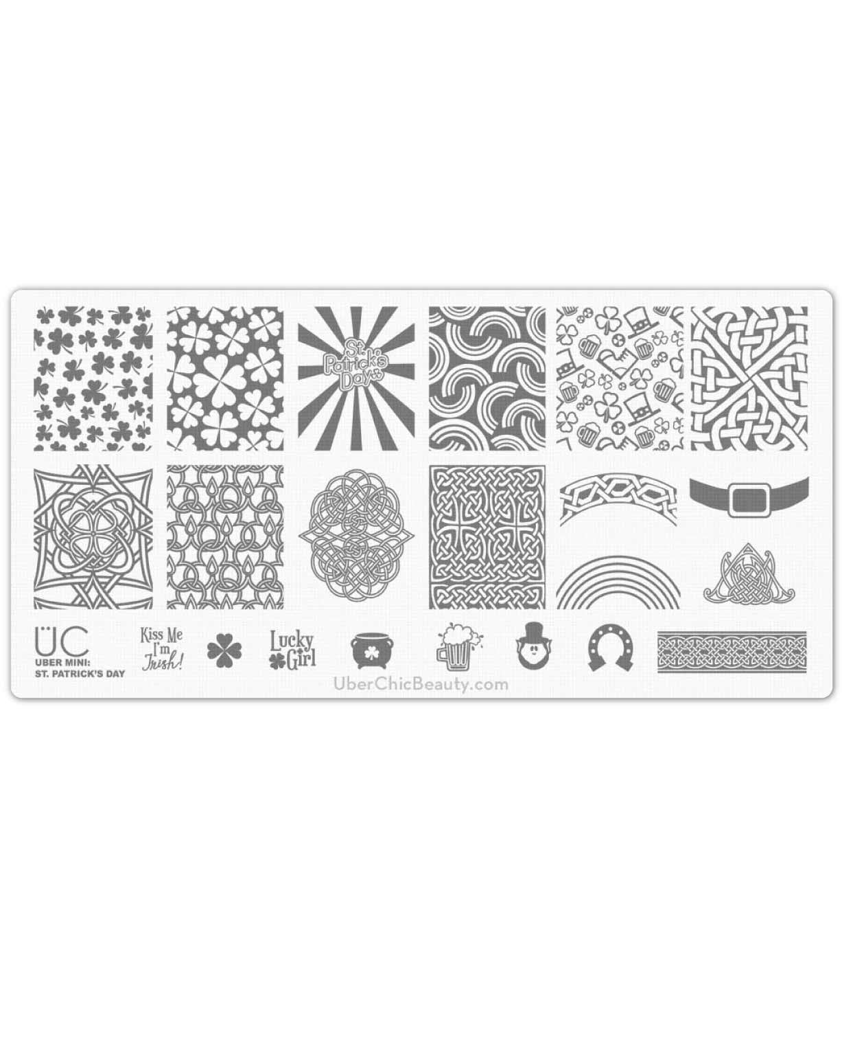 St Patrick's Day - Uber Mini Nail Stamp Plate