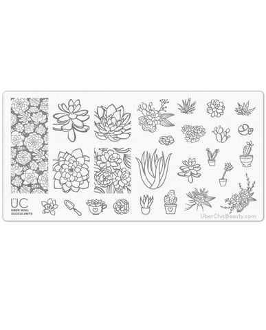 Succulents - Uber Mini Nail Stamp Plate