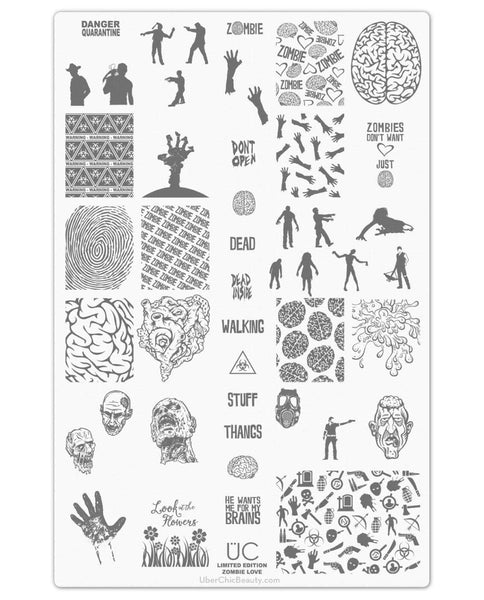 Zombie Love-01 - UberChic Nail Stamping Plate