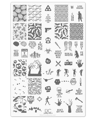 Zombie Love-02 - UberChic Nail Stamping Plate