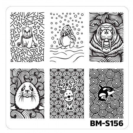 Nail Art Stamping Plates-Fuzzy and Ferocious - BM-S156, Cuteness in Cold