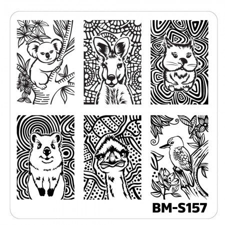 Nail Art Stamping Plates-Fuzzy and Ferocious - BM-S157, Cuties from Down Under