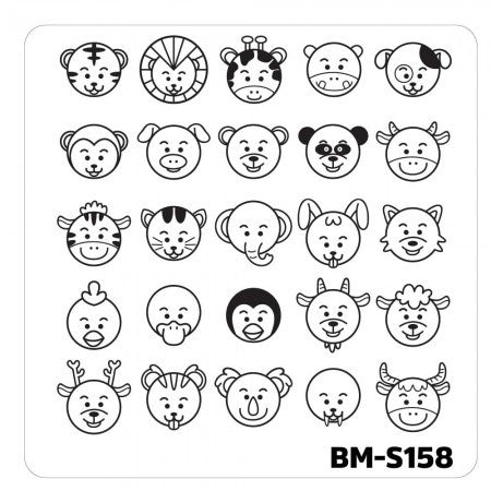 Nail Art Stamping Plates-Fuzzy and Ferocious - BM-S158, Emoji Animals