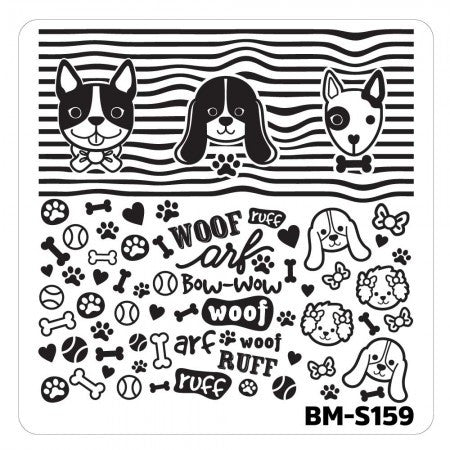 Nail Art Stamping Plates-Fuzzy and Ferocious - BM-S159, Dog People