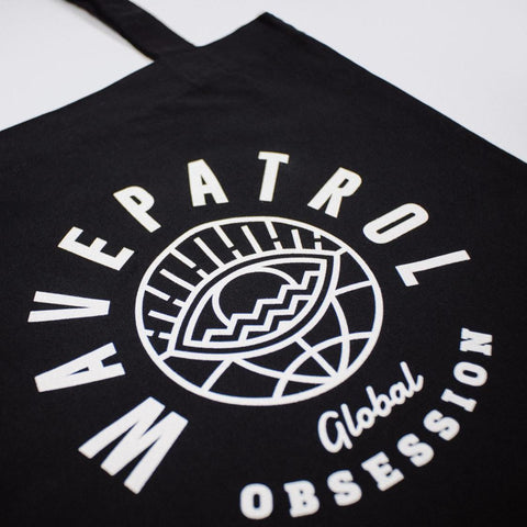 BLACK RECYCLED TOTE BAG ♻ - WAVEPATROL
