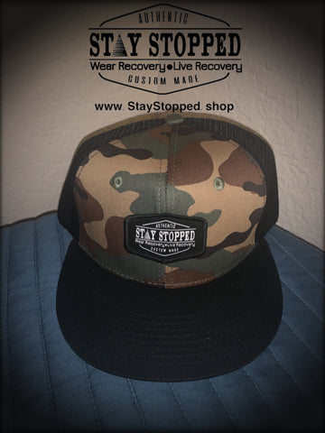 Camo 5 panel Stay Stopped Official logo Patch