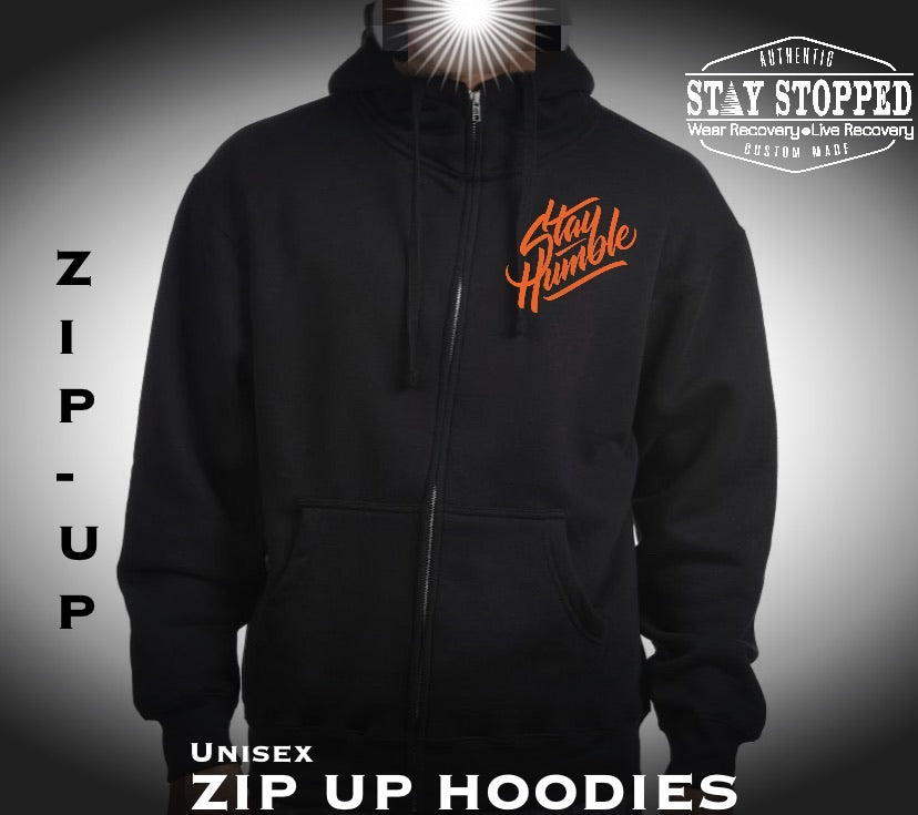 Zip up Hoodie Premium Heavyweight-STAY HUMBLE OUTSTANDING Orange