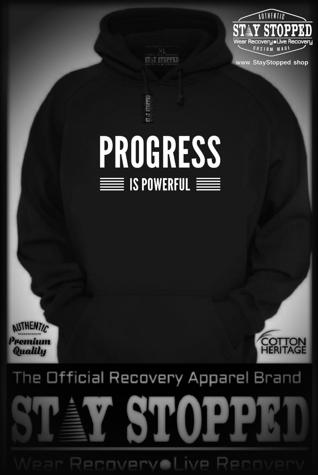 PROGRESS IS POWER Stay Stopped Heavyweight HOODIES