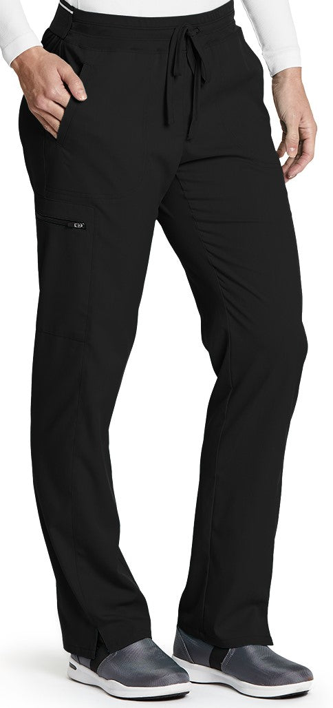 Grey's Anatomy™Pant 2 Slash Pocket and 1 Zipper Cargo. Drawstring Front with Back Elastic