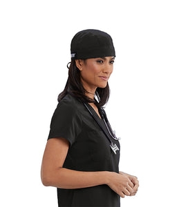 Grey's Anatomy™ Scrub Hat in Black with self tie back. Classic Fabric.