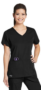 Grey's Anatomy™ 4 Pocket Top Cross Over Neck. Classic Fabric.