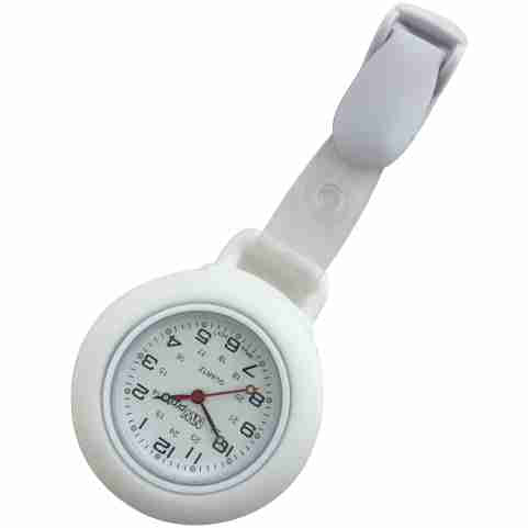Nurse Pin Watch Clip-On Silicone White