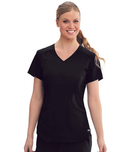 Grey's Anatomy™ Top 4 Pocket,shaped mesh shoulder. Classic Fabric.