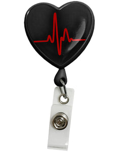 Retracteze™ ID Holder EKG Heart Black