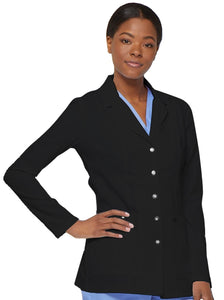 Dickies Contemporary fit, notched lapel lab coat features front and back princess seams.