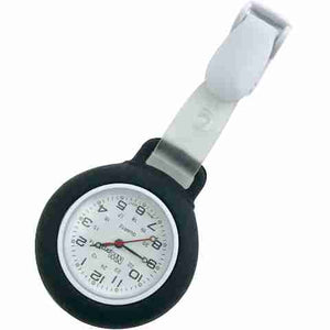 Nurse Pin Watch Clip-On Silicone Black