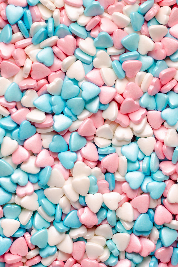 Hearts - Pink, Blue & White Tablets Sprinkles Sprinkly