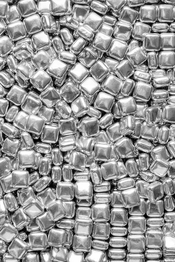 Metallic Shapes - Silver Squares Sprinkles Sprinkly