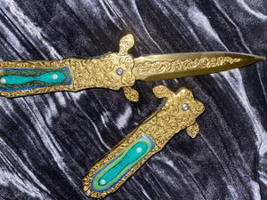 Athame / Dagger - Gold Blade Ornate