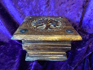 Tree of Life Carved Walnut Pedestal Box