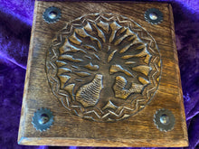 Load image into Gallery viewer, Tree of Life Carved Walnut Pedestal Box