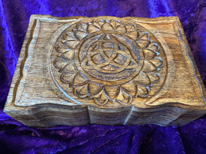 Triquetra Carved Black Walnut Box