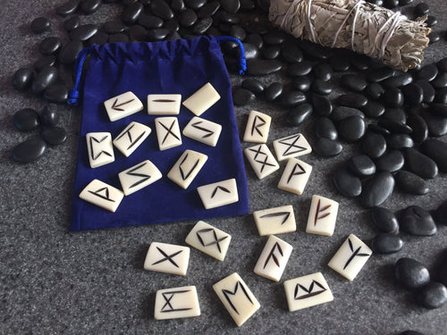 Carved Bone Elder Futhark Rune Stones