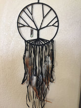 Load image into Gallery viewer, Tree of Life Dream Catcher Black with Smokey Quartz