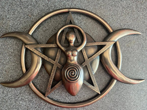 "Triple Moon Goddess Wall Hanging Large Plaque Bronze Paint Finish Metallic 12""x8"""