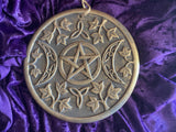 Triple Moon Goddess Terracotta Clay Wall Hanging Heavy 8 Inch Gold Bronze Jute