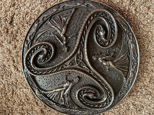 Triskelion Wall Plaque Mother Maiden Crone Celtic Hanging Triple Goddess Bronze